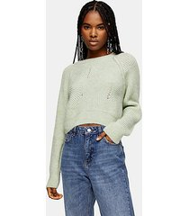 mint swirl cropped sweater - mint