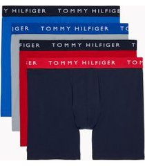 tommy hilfiger men's cotton stretch boxer brief 4pk quarry/tango red/navy/nautical blue - xxl
