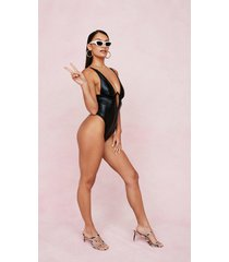 womens coated underwire cut out high leg swimsuit - black