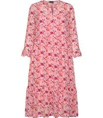 dress woven fabric knälång klänning rosa taifun