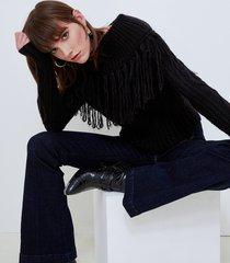 motivi maglia con frange misto mohair donna nero