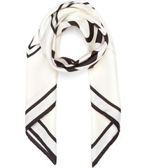 logo print silk scarf