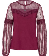 maglia a maniche lunghe con mesh e pizzo (viola) - bodyflirt