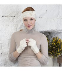 handknitted aran fingerless gloves cream small