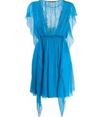alberta ferretti floral lace panel ruffle silk dress - blue