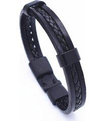 brazalete cuero trenzado cuerda voq ref 17a77 color negro