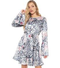vestido carmim curto paloma azul-marinho/rosa