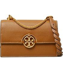 tory burch miller mini leather crossbody bag - brown