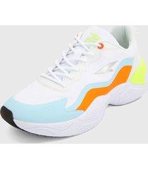 tenis lifestyle blanco-azul-naranja rs21