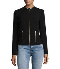collarless zip jacket