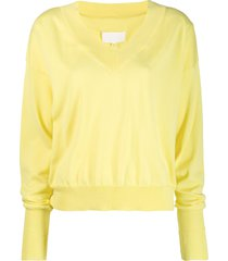maison margiela relaxed-fit pullover - yellow