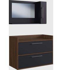 conjunto de balcão e espelheira p/ banheiro arlo preto e madeirado escuro e estilare móveis
