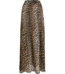 ganni leopard print maxi skirt - brown