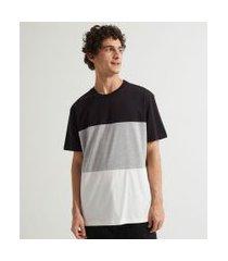 camiseta manga curta lisa com recortes   blue steel   preto   g