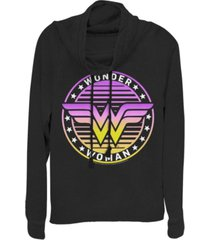 fifth sun dc wonder woman gradient logo cowl neck women's pullover fleece