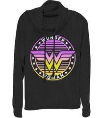 fifth sun dc wonder woman gradient logo cowl neck juniors pullover fleece