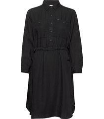 worker drapey dress knälång klänning svart lee jeans