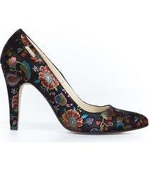 skórzane szpilki zapato 035 czarne liście
