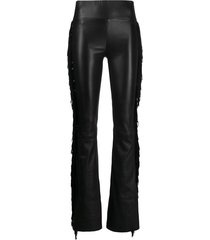 sprwmn suede tassel side leather trousers - black