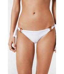 calzedonia elena bamboo style ring bikini bottoms woman white size 4
