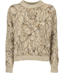 brunello cucinelli crewneck sweater mohair sweater with dazzling ramage embroidery