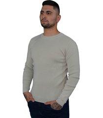 blusa básica masculina tomasini tricot outono/inverno 2020 bege