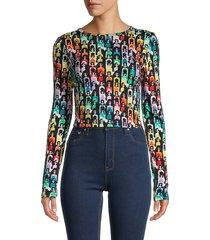 alice + olivia women's delaina cropped t-shirt - rainbow - size l