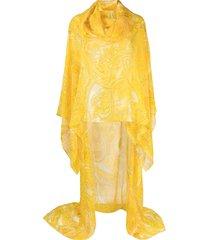 etro paisley print silk kaftan top - yellow
