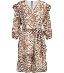 aaiko valenthe dress white & brown printed