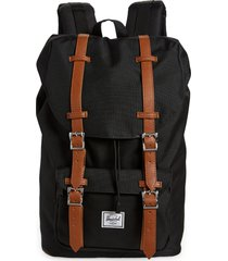 herschel supply co. little america - mid volume backpack in black/tan synthetic at nordstrom