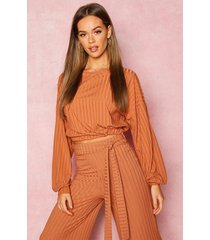 recycled rib balloon sleeve top, tan