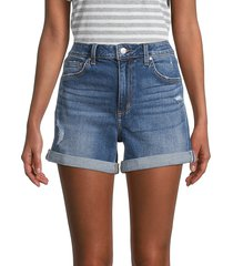 joe's jeans women's high-rise rolled cuff denim shorts - azusa blue - size 25 (2)