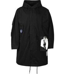 unlined patch parka jacket black