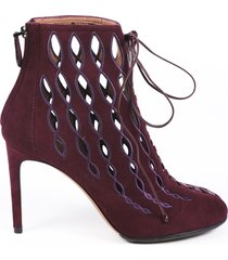 alaia suede cut out lace up booties