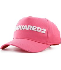 dsquared2 d2 logo pink white baseball cap