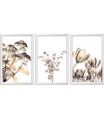 quadro oppen house    60x120cm flores abstrato transparentes moldura branca estilo raio  x decorativo interiores mod:oh0018 - tricae