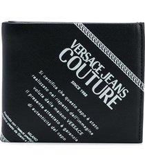 versace jeans couture logo print wallet - black