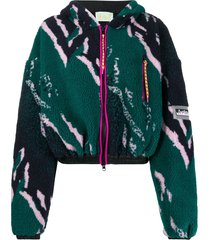 aries printed fleece jacket - green