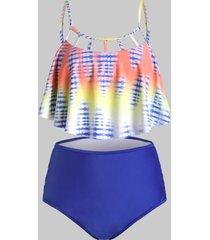 plus size tie dye hollow out criss cross tankini swimwear