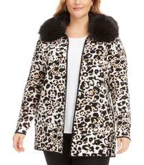 belldini plus size animal-print jacquard cardigan with faux-fur collar