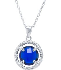 "round crystal pendant with 18"" chain in sterling silver. available in clear or blue"