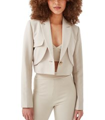 4th & reckless ayres tailored crop blazer, size x-small in beige at nordstrom