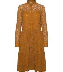 dress ls knälång klänning gul rosemunde