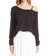 women's fabiana filippi bead trim one-shoulder sweater, size 12 us - black