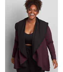lane bryant women's livi scuba overpiece jacket 14/16 plum