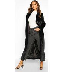 longline faux fur coat, black