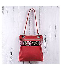 leather and wool shoulder bag, 'red roses' (peru)