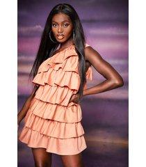 one-shoulder gedrapeerde mini-jurk met ruches, perzik