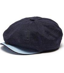 contrast brim linen newsboy cap