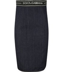 dolce & gabbana rear zipped denim skirt